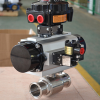2 way stainless steel quick install food grade sanitary pneumatic actuated ball valve with positioner