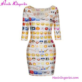 f45865a32 Sonriente Cara Emoji Divertido Vestidos De Verano De Las Mujeres ...