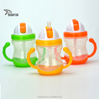 240ml PP Drinkware Baby Water Bottle Soft Straw Training Cup Baby Bottle Training Cup with Handles for Kids