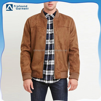 adf0519307 Oem High Quality Mid Weight Slim Fit Suede Mens Custom Bomber Jacket ...