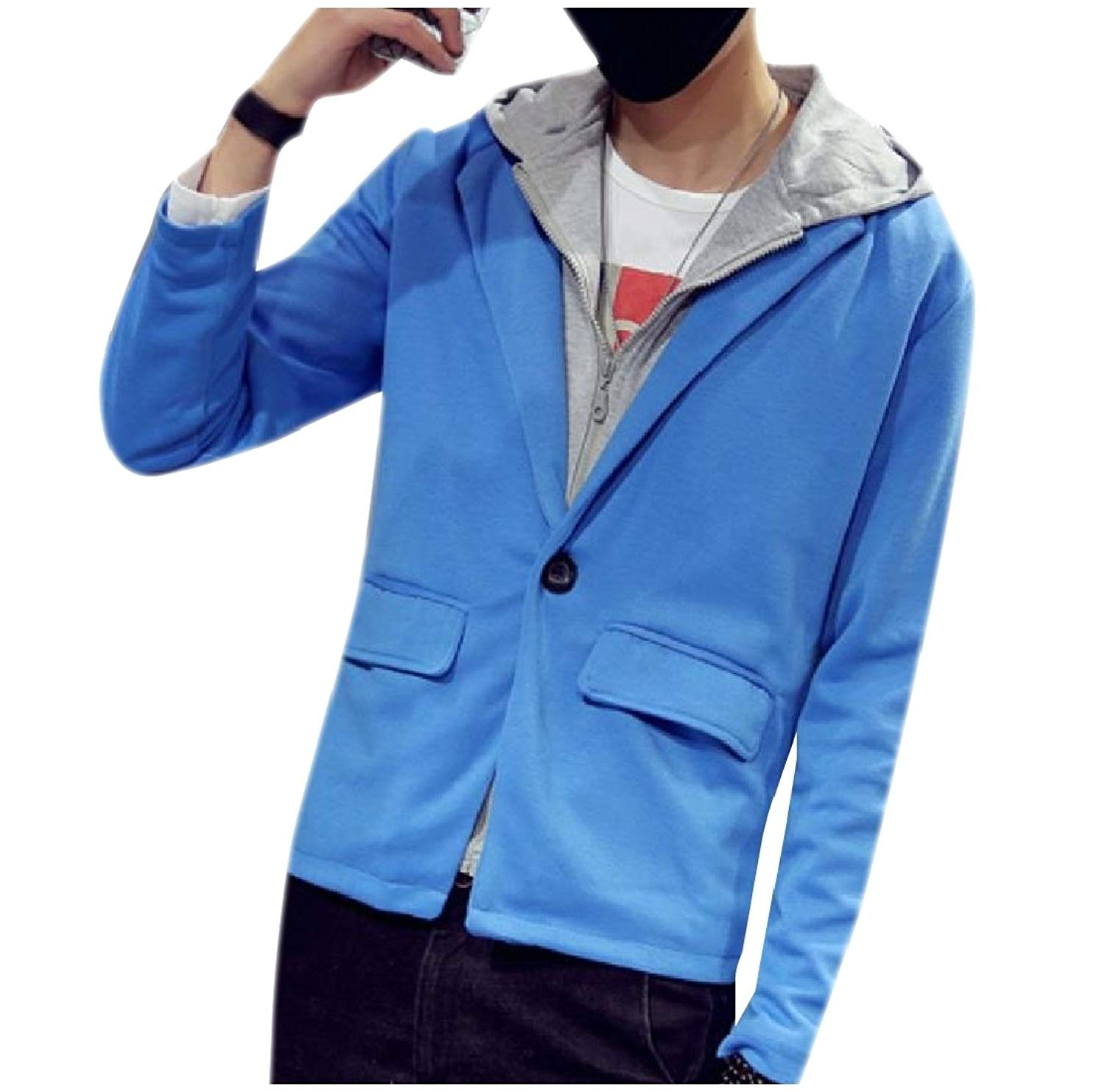 b8ace0b468e Buy Comaba Mens Fake Two Pieces Hoodie Lapel Suit Coat Jacket Blazer ...