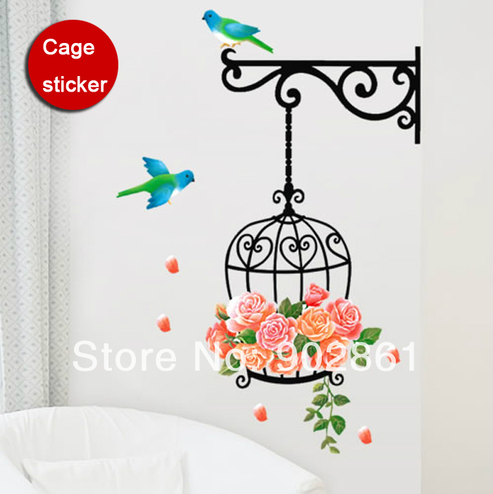 [funlife]-70x45cm(28x18in) Roses & Bird Birdcage <font><b>Home</b></font> <font><b>Decoration</b></font> Art Wall Sticker Paper Decal For Living Room <font><b>Elegant</b></font>