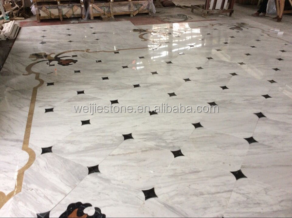 Elegant lobby marble flooring design from Yunfu factory