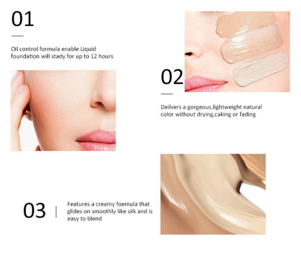 Private Label Factory Supply Wholesale Cosmetic Drop Liquid Makeup Foundation Concealer