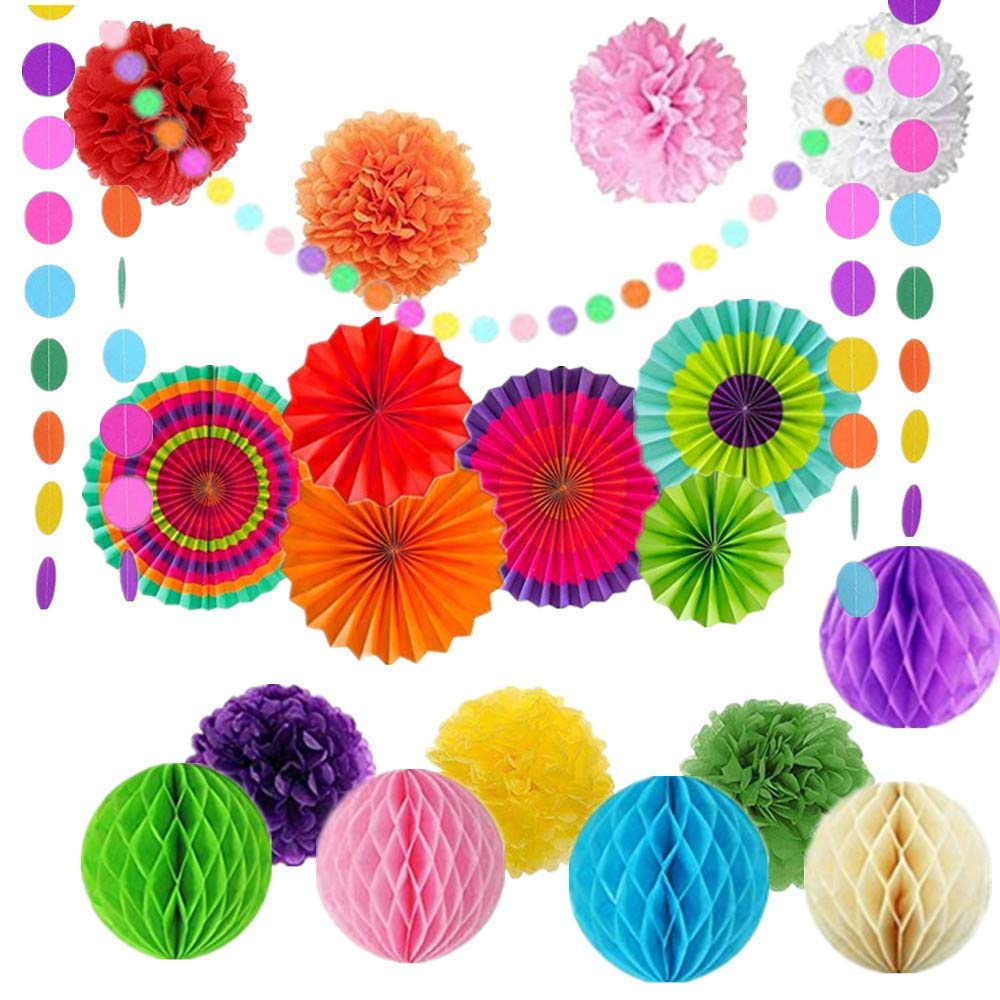 20Pcs Colorful Paper Fans Paper Honeycomb Balls Rainbow Tissue Paper Pom Poms Colorful Party Decorations Rainbow Garland for Birthdays,Festivals,Carnivals,Fiesta Party,Christmas Decor
