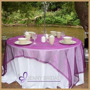 TL014A Wedding Table Decoration Purple Organza Cheap Wedding Table Overlay,  Round Overlay Tablecloths