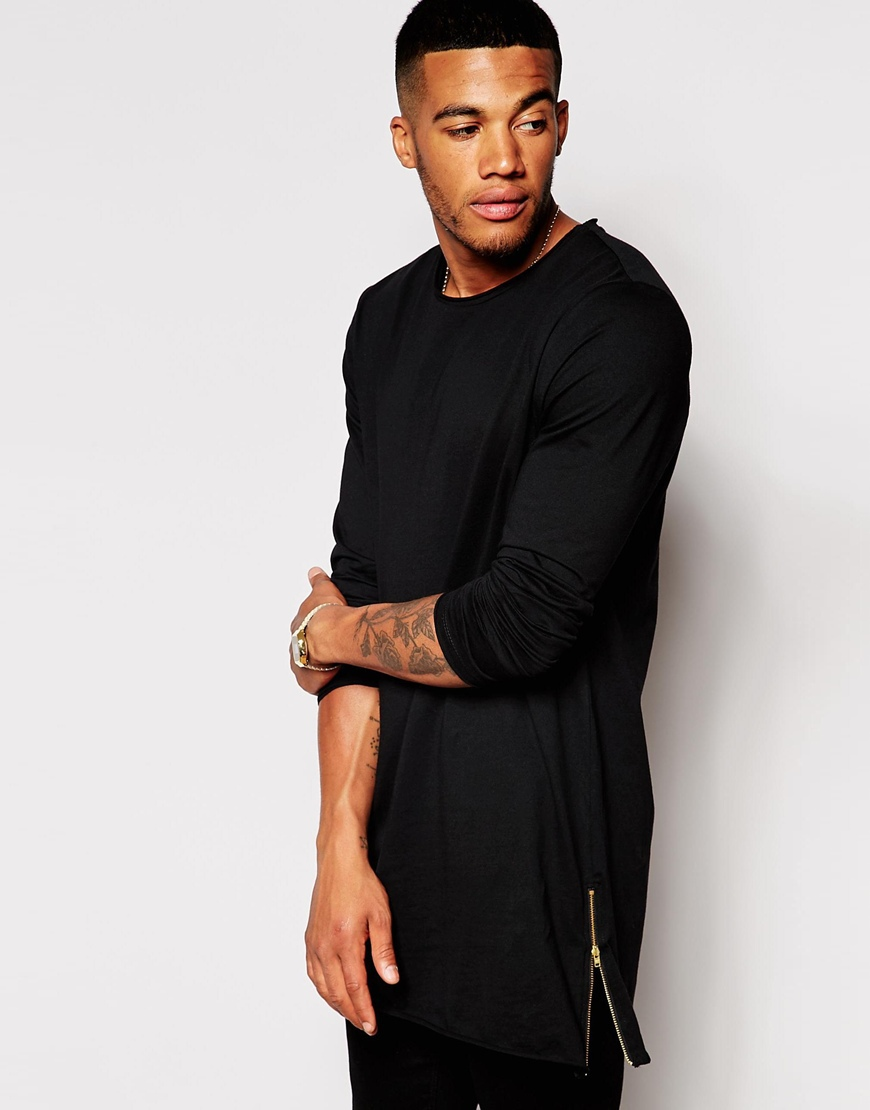 Super Longline Long Sleeve Men Blank Plain T-shirt With Side Zips ...