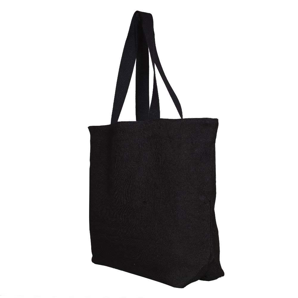 4PCS Reusable Grocery Bags Heavy Duty Canvas Tote Bag Pure Cotton Shopping Handbag (Black)