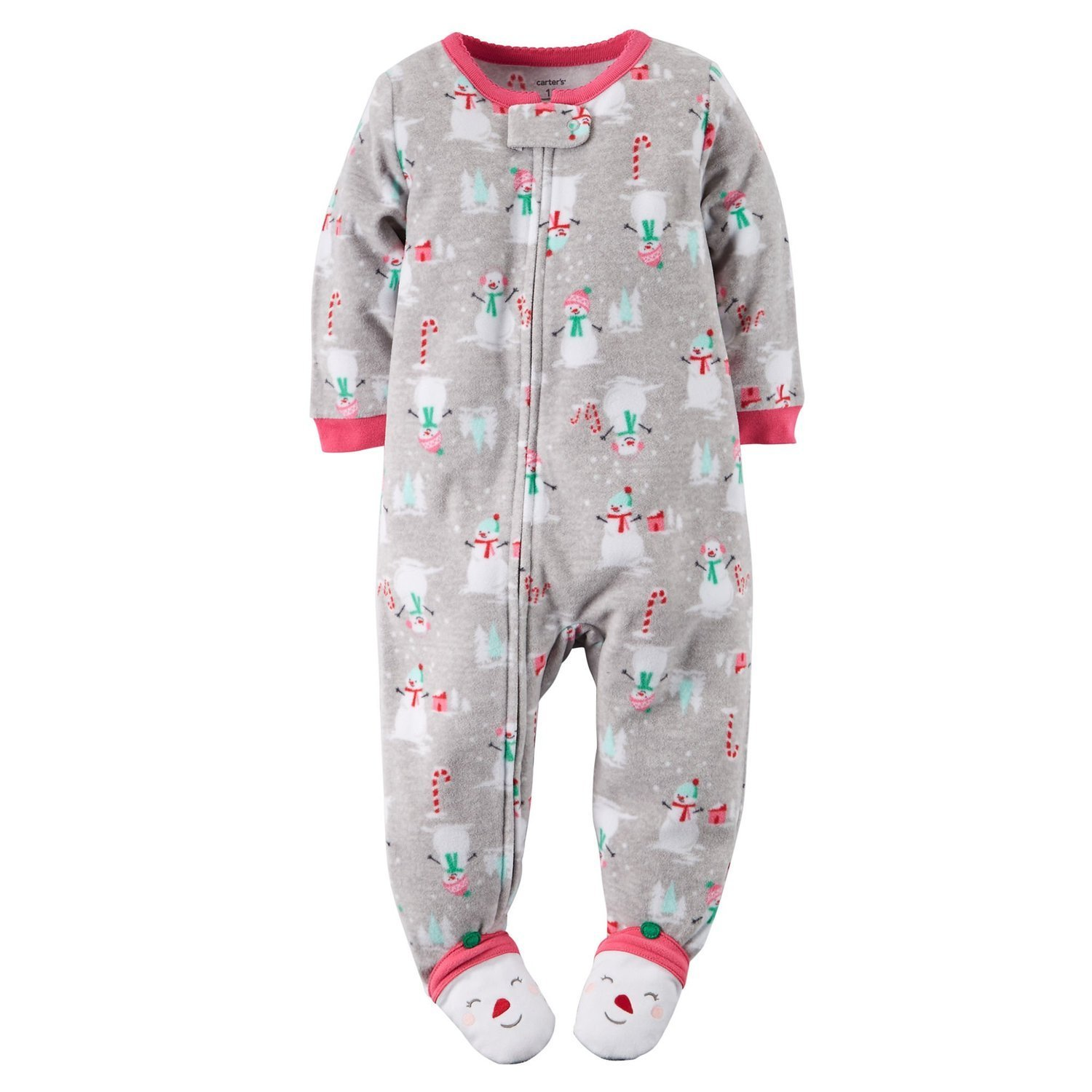 Get Quotations · Carters Baby Girls Fleece Pajamas (Gray Snowman Print) 92ab5260f