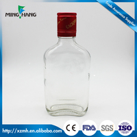 350ml high quality flat glass wine bottle vodka glass bottle for sale