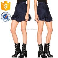 Satin Mousseline Ruffle Hem High Waist Navy Mini Skirt For Ladies Manufacturer Wholesale Fashion Women Apparel (TF0030K)