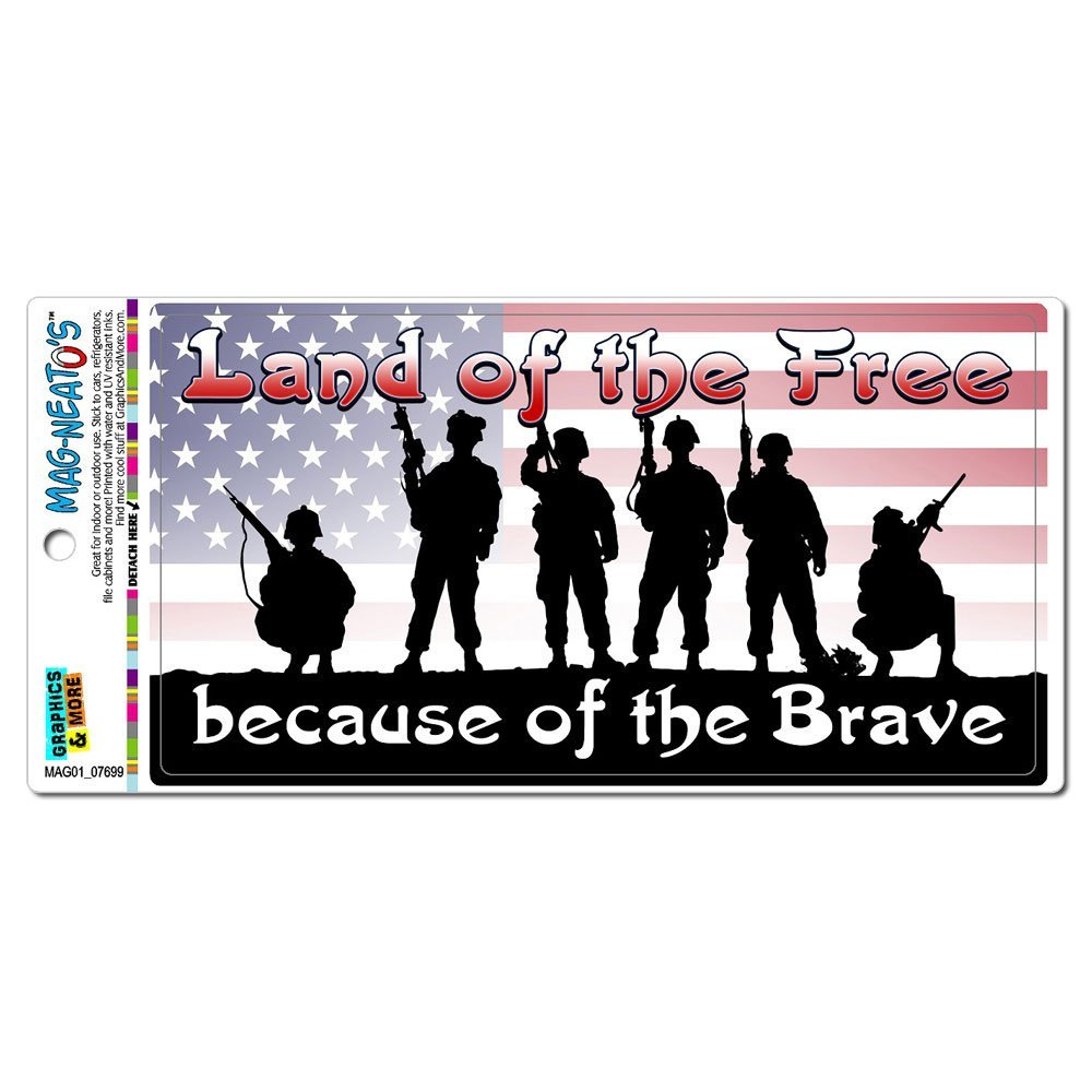 Land of the Free Because of the Brave - Patriotic America USA MAG-NEATO'S(TM) Automotive Car Refrigerator Locker Vinyl Magnet