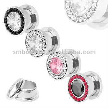 Large Diamond Ear Flesh Tunnel Plugs Gauge Earrings Piercing Unique Stretchers Amek0243