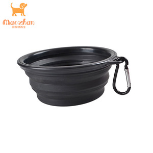 Pet Dog Cat Fashion Silicone Collapsible Feeding Water Feeder Bowl pet supplies Travel Dish Folding Dog Bowl with Stand