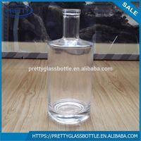 High white material Boston round 750ml vodka glass bottle for wine use