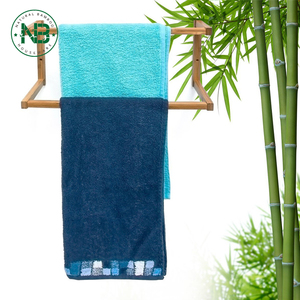 Wall-Mount wooden Rack Stand Bamboo Towel Holder With 2 Rails