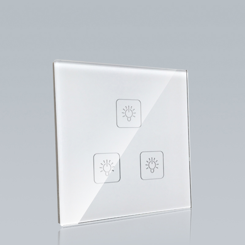 New style 240v crystal glass 3gang 1way smart touch electrical switch for hotel
