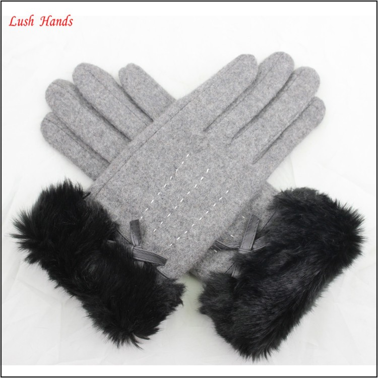 ladies winter cheap grey woolen hand gloves with fake fur