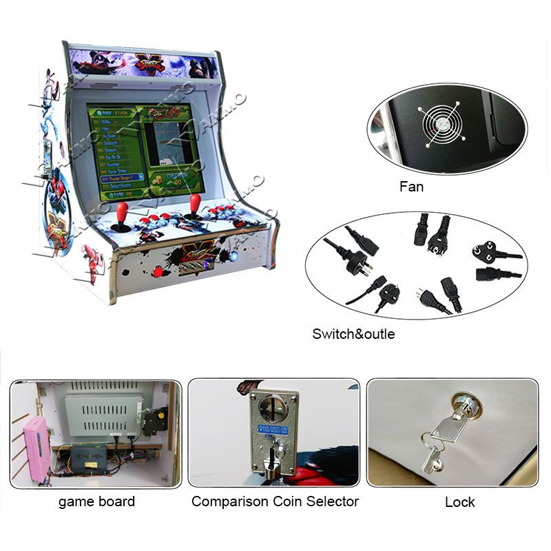 Horizontal MDF cabinet multi classic tabletop arcade cabinet bartop arcade  with Raspberry PI, View bartop arcade, WanMo Product Details from Guangzhou