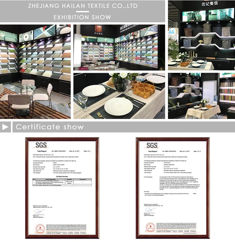 Tamaño estándar respetuoso del medio ambiente de reutilizable antideslizante de comedor mesa de comedor a rayas manteles de pvc