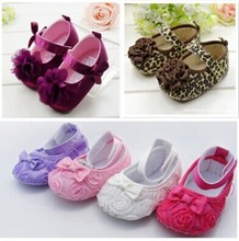 Cute Crib Shoes PreWalkers First Walker Brown Leopard Flower Velcro For Baby Girl Kids