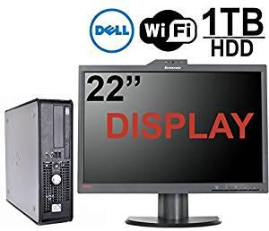 Dell Optiplex 760 Desktop Computer Bundle, Intel Core 2 Duo 2.66GHz CPU, 4GB Memory,New 1TB Hard Drive, 22'' LED Monitor Built in Webcam, WiFi, Windows 7 Pro, (Certified Refurbished)
