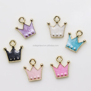 Mini Multi-Colors Colorful Alloy Crown Charm for Necklace Bracelet Jewelry Making Clothes Sewing Bag Decoration Pendant (Crown)