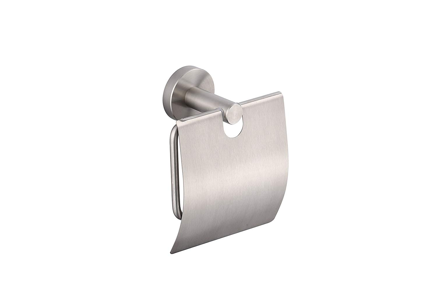 KTY Stainless Steel Toilet Paper Holder Single Roll with Cover, Brush nicket SUS304 Stainless Steel