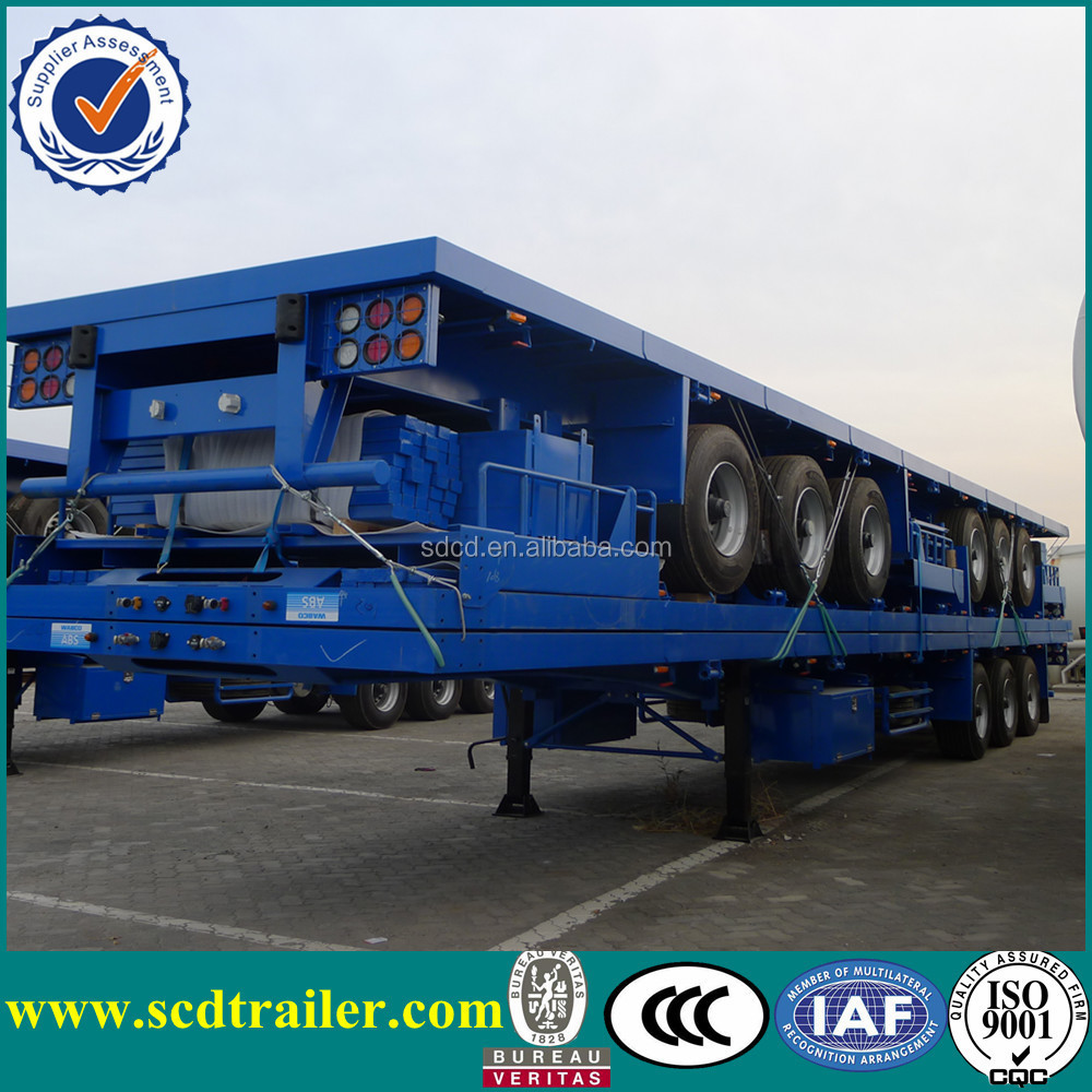 3 Axle 40 Feet Flatbed Trailer,Container Trailer Chassis,High Bed ...