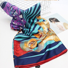 Wholesale turkish silk scarf digital print custom design silk scarf bound