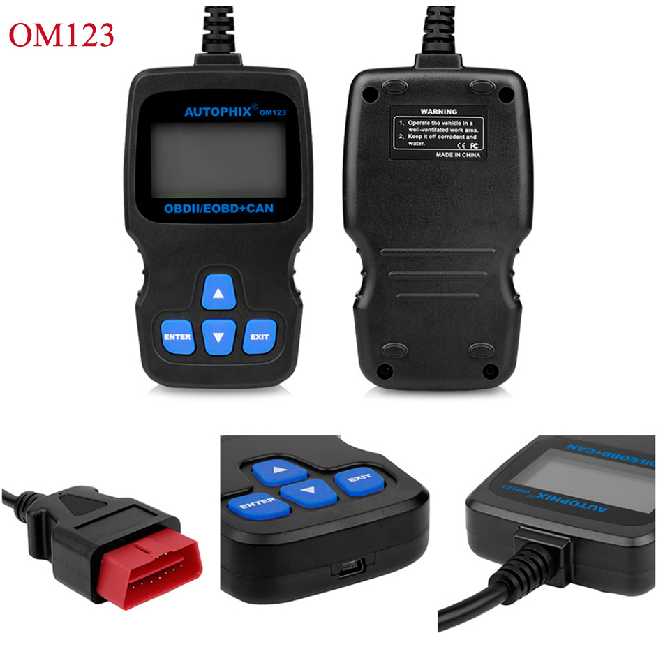 Autophix OM123 OBD2 EOBD CAN Hand-held Engine Analyzer Code Reader Russian Portuguese Auto Scan Tool Automotive Scanner