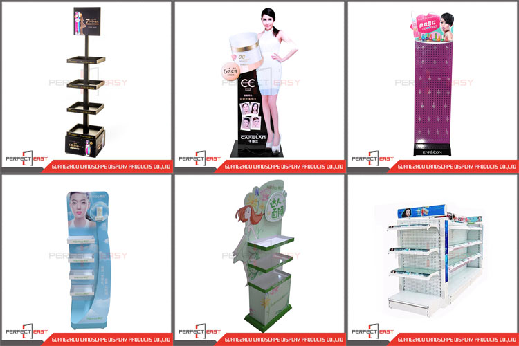 Removable 3 tiers metal floor standing skincare display stand with wheel