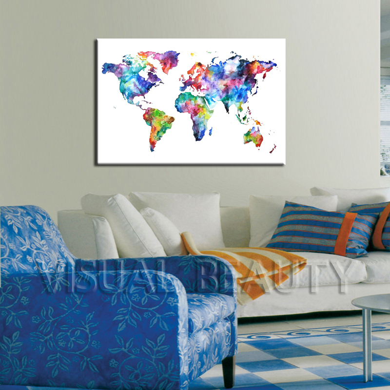 Modern popular world map printed canvas photo hanging view modern popular world map printed canvas photo hanging gumiabroncs Images