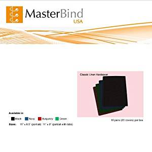"""MasterBind 11 x 8.5"""" Navy Classic Linen Hard Covers with Tabs - 20/BX"""