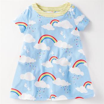 93e94df85 Vestidos de las niñas occidental diseños bebé Niñas Ropa vestido Arco Iris  impresa de manga corta