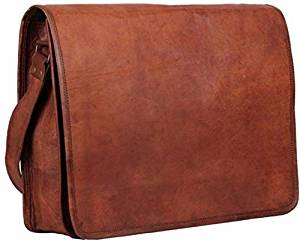 """LEATHER BAGS 4 YOU 15"""" Inches Unisex Full Flap Handmade Leather Messenger Laptop Bag"""