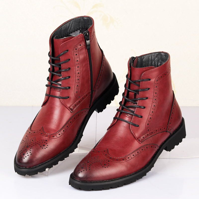 Hot sale men genuine leather brogues oxfords ankle riding ...