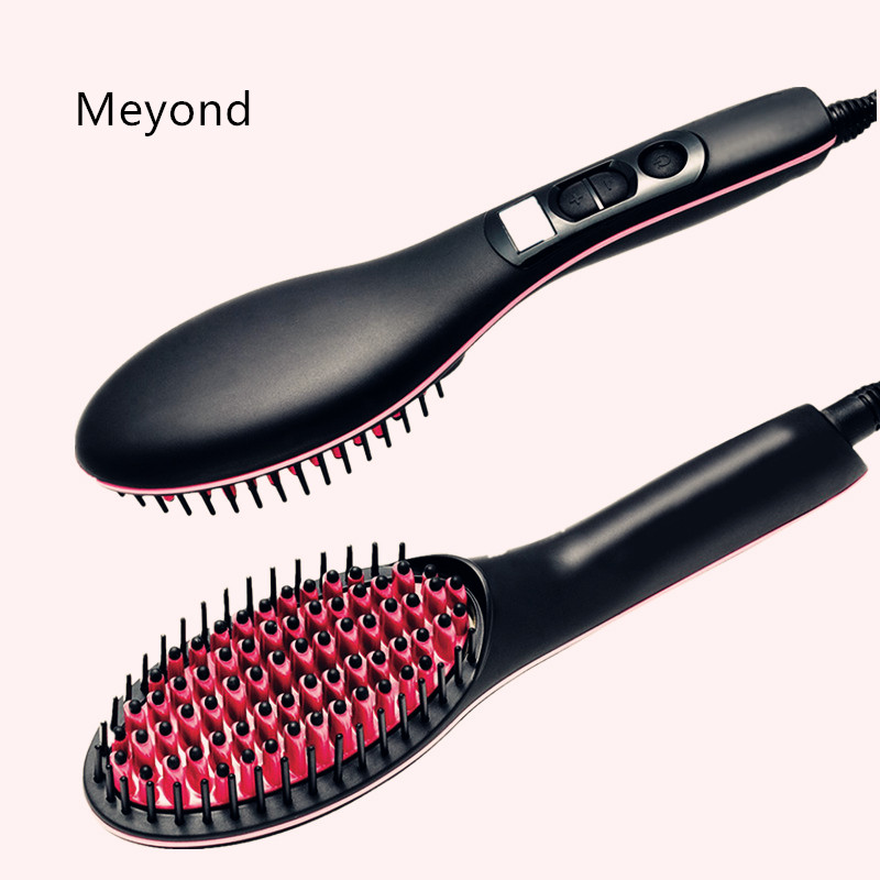 Simple and cheaper fast hair straightener brush hot sale on TV with LCD display and made in ningbo