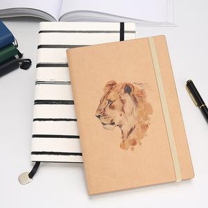 New design custom printing personalized pu leather elastic band notebook hardcover diary with gift box set
