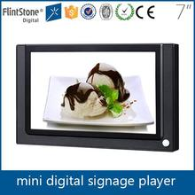 Flintstone 7 inch plastic casing retail digital signage, motion sensor video screen display, markting advertising ad player