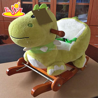 2017 New design baby wooden rocking horse hippo top fashion kids cartoon animal wooden rocking horse hippo with music W16D105