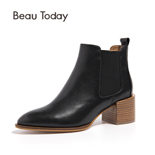 Chelsea Boots Women Cow Leather High Heel Pointed Toe Wholesale Autumn Ladies Ankle Shoes 03313
