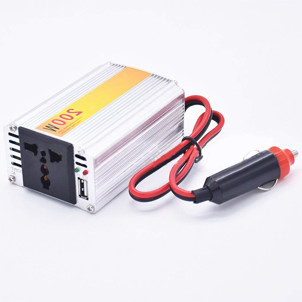Funwill 200W Car Inverter Converter DC12V to AC 110V Car Auto Power Inverter With 5V USB Car Charger(silver)