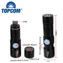 Mini Zoom Dimmer Flashlight 3 Modalità USB Ricaricabile Mini Led <span class=keywords><strong>Torcia</strong></span> <span class=keywords><strong>Luce</strong></span>