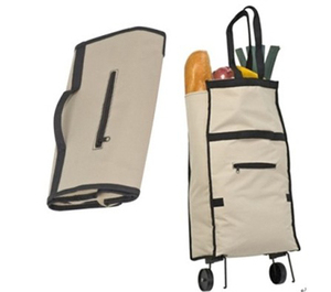 600d polyester folding shopping bag with wheels