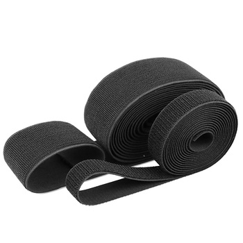 Factory supply flexible black and white fitness nylon adjustable buckle elastic hook and loop straps tape