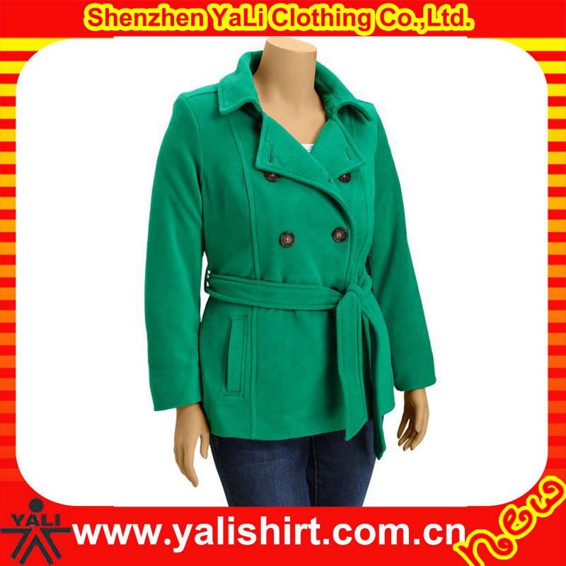 Custom fashion classic solid color cotton woolen waistband ladies korean overcoat 2014