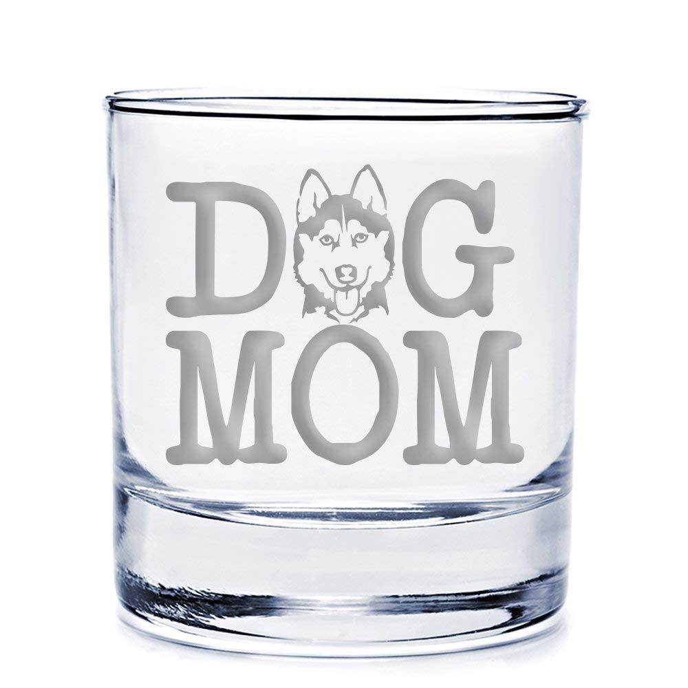 Dog Mom Siberian Husky Engraved 10-ounce Rocks Glass