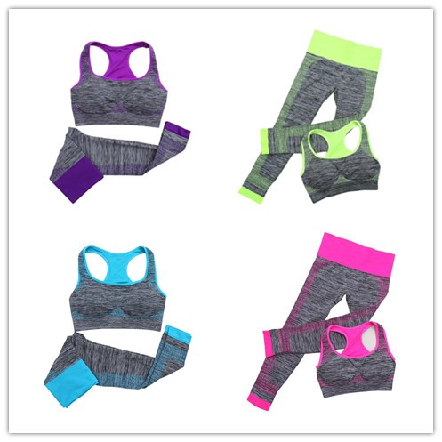 Fitness Gym Sports Slim Leggings+Tops Yoga Sets Bra+Pants Sport Suit For Female