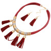 Multi-layer leather tassel earring necklace jewelry set wholesale